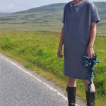 tee dress in glenlyon tweed grey resized with squiggle scarf