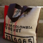 glenlyon coffee sack upcycled bag with red harris tweed 2