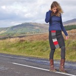 web harris tweed calmac skirt and navy cotton jersey top