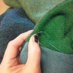Luxury patch scarf handstitch detail